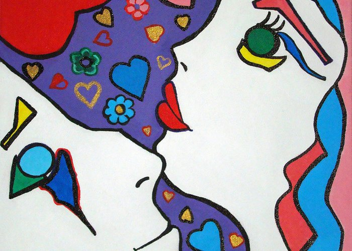 Pop-art Greeting Card featuring the painting In Love by Silvana Abel