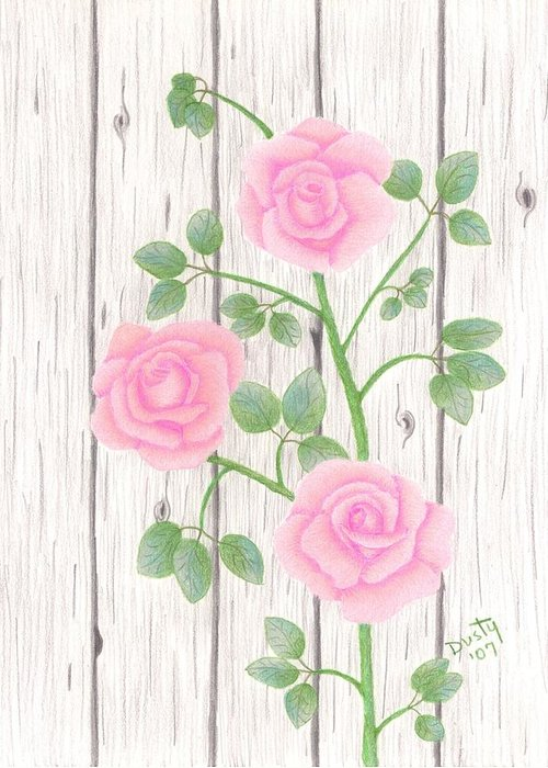 Rose Greeting Card featuring the drawing In Memory of... by Dusty Reed