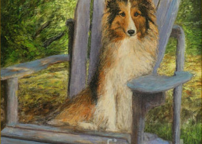 Pets Greeting Card featuring the painting In Memory Of Esha by Chris Neil Smith