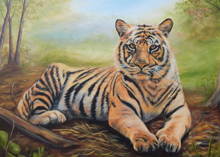 Tiger Greeting Card featuring the painting In Repose by Anne Kushnick