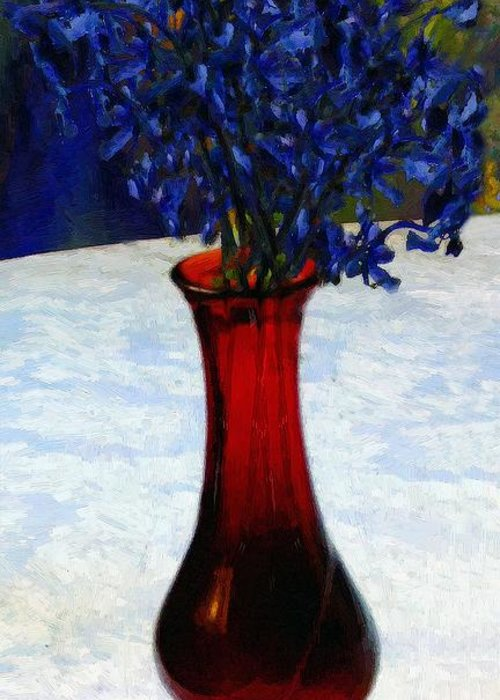 Still Life Greeting Card featuring the painting In The Blue Hour by RC DeWinter