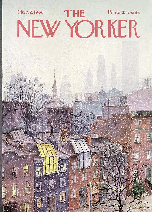 Albert Hubbell Ahu Greeting Card featuring the painting New Yorker March 2, 1968 by Albert Hubbell