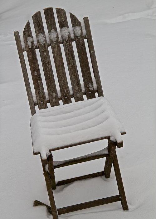 Chair Greeting Card featuring the photograph In The Cold by Odd Jeppesen