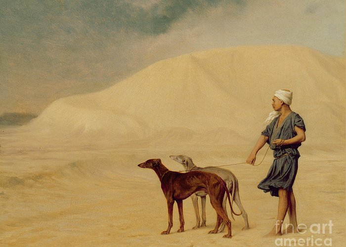 Male; Arab; Turban; Dog; Dogs; Greyhound; Orientalist; Sand; Desert Greeting Card featuring the painting In The Desert by Jean Leon Gerome