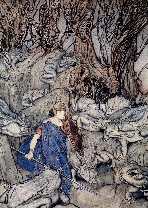 Fairy Tale; Fairy Story; Magic; Frogs; Toad; Frog; Forest; Woods; Spear; Armor; Helmet; Prince; Shield; Irish Mythology; Male; Bravery; Courage; Myth; Legend Greeting Card featuring the drawing In The Forked Glen Into Which He Slipped At Night-fall He Was Surrounded By Giant Toads by Arthur Rackham