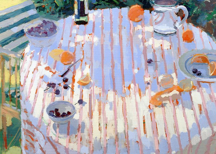 Still Lives Objects Greeting Card featuring the painting In The Garden Table With Oranges by Sarah Butterfield