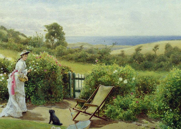 In The Garden Greeting Card featuring the painting In The Garden by Thomas James Lloyd