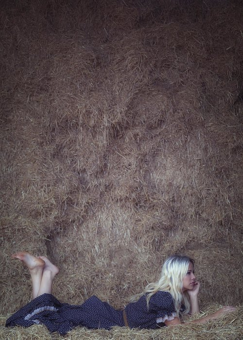 Girl Greeting Card featuring the photograph In The Hay by Joana Kruse