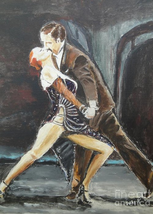 Tango Greeting Card featuring the painting In The Heat Of The Night by Judy Kay