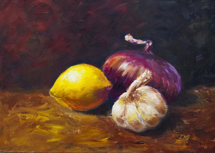 Still Life Greeting Card featuring the painting In The Kitchen by David Gorski