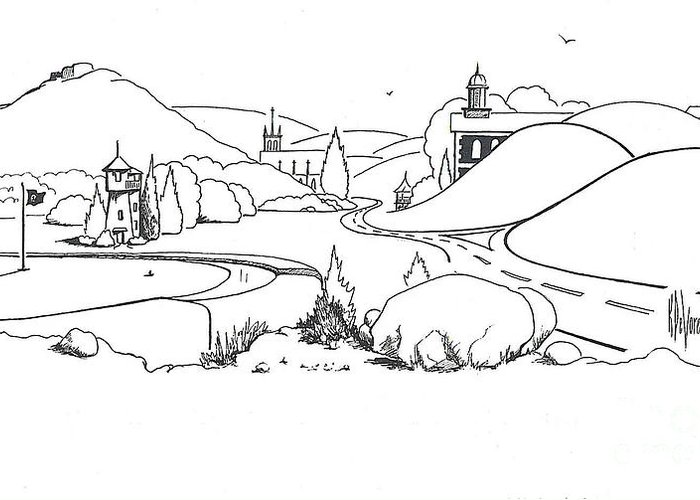 In The Land Of Brigadoon Greeting Card featuring the drawing In The Land Of Brigadoon by Kip DeVore