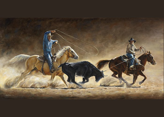Cowboy Greeting Card featuring the painting In The Money by Kim Lockman
