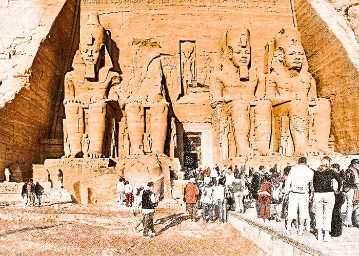 Ramses Ii Greeting Card featuring the photograph In The Presence Of Ramses II At Abu Simbel by Mark E Tisdale