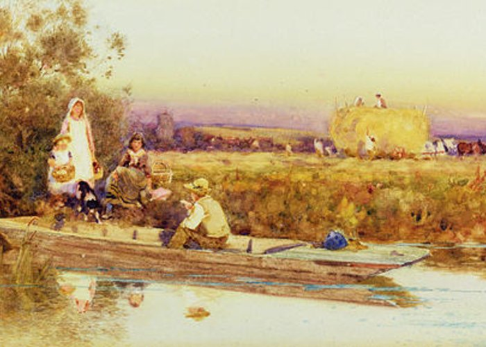 In The Punt Greeting Card featuring the painting In The Punt by Thomas James Lloyd