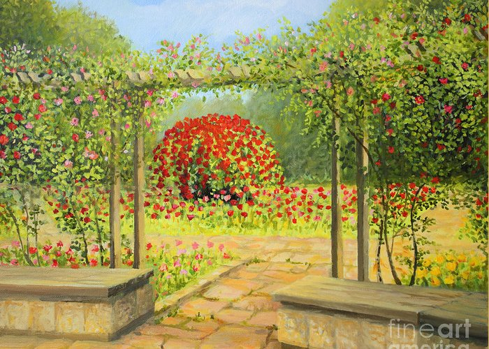 Art Greeting Card featuring the painting In The Rose Garden by Kiril Stanchev