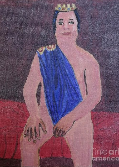 In The Royal Blue Greeting Card featuring the painting In The Royal Blue by Tracey Williams