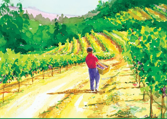 Vineyard Greeting Card featuring the painting In The Vineyard by Ray Cole