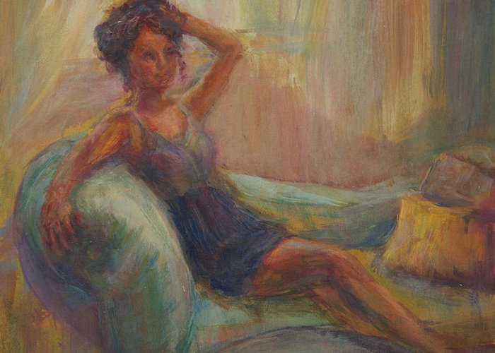 Woman Greeting Card featuring the painting In The Window Light by Quin Sweetman