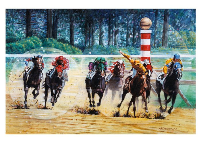 Horses Greeting Card featuring the painting In the Winner's Circle by John Lautermilch