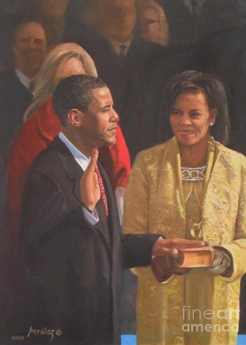 Barack Obama Portraits Greeting Card featuring the painting Inauguration Of Barack Obama by Noe Peralez