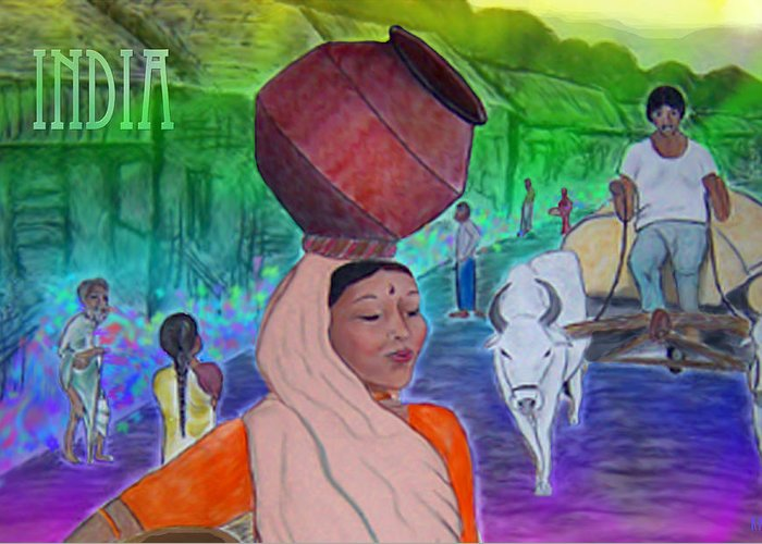 India Greeting Card featuring the digital art India by Karen R Scoville