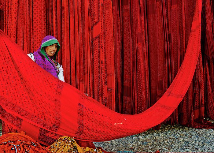 Expertise Greeting Card featuring the photograph India, Rajasthan, Sari Factory by Tuul & Bruno Morandi