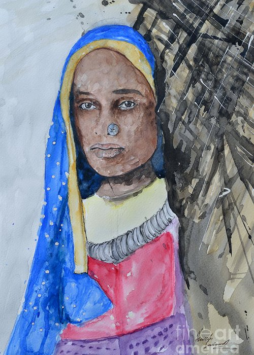 Greeting Card featuring the painting Indian Girl by Ismeta Gruenwald