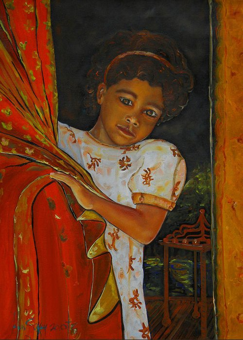 Oil On Canvas Greeting Card featuring the painting Indian Girl by Ken Caffey
