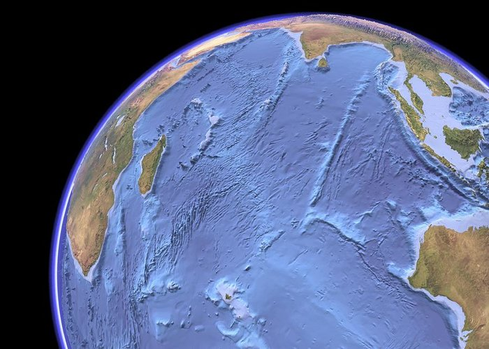 Indian Ocean Greeting Card featuring the photograph Indian Ocean, Sea Floor Topography by Science Photo Library