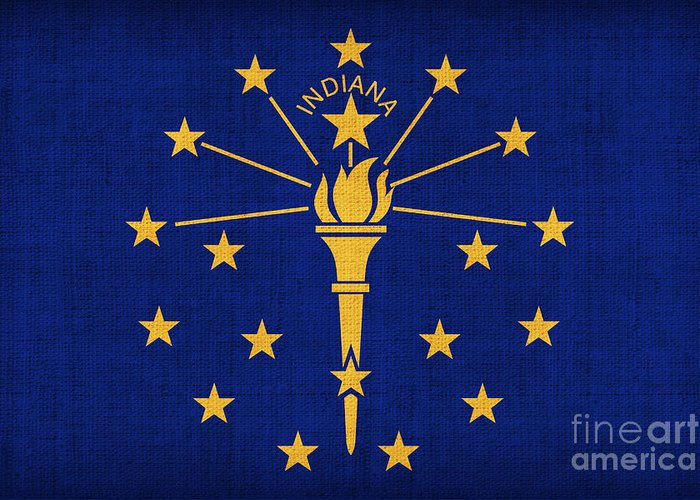 Indiana Greeting Card featuring the painting Indiana State Flag by Pixel Chimp