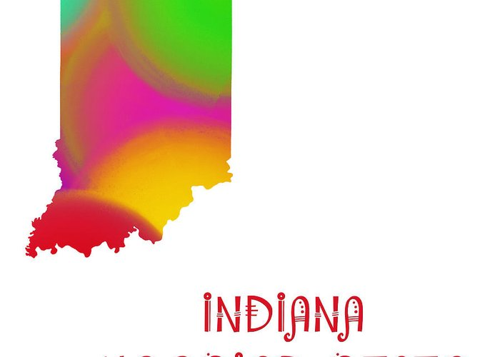 Andee Design Greeting Card featuring the digital art Indiana State Map Collection 2 by Andee Design