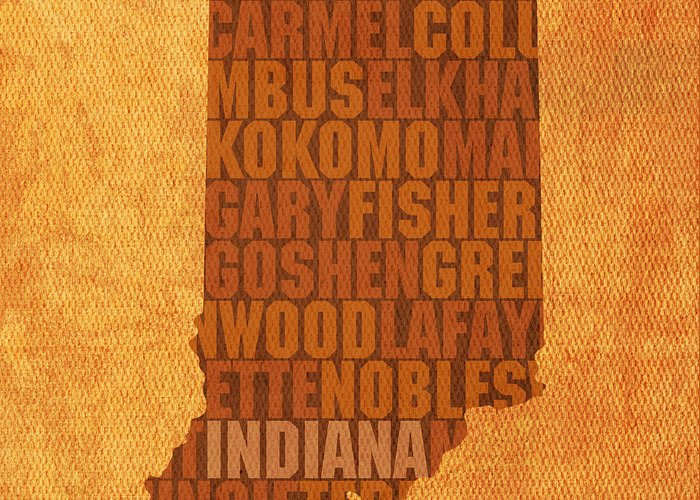 Indiana State Word Art On Canvas Greeting Card featuring the mixed media Indiana State Word Art On Canvas by Design Turnpike