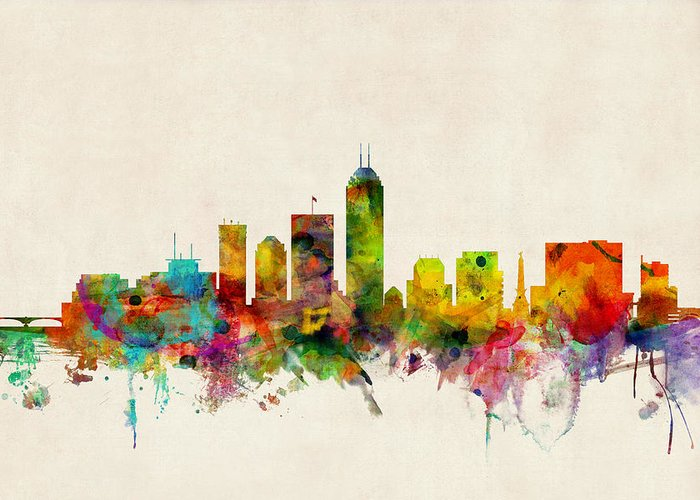 Watercolour Greeting Card featuring the digital art Indianapolis Indiana Skyline by Michael Tompsett