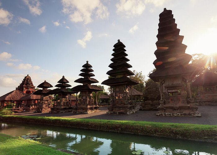 Shadow Greeting Card featuring the photograph Indonesia, Bali, Taman Ayun Temple by Michele Falzone