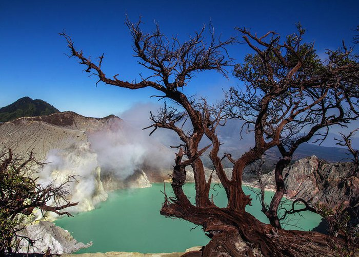 Crater Lake Greeting Card featuring the photograph Indonesia, Java, Kawah Ijen by Andreas Kunz