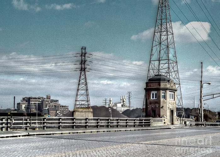 Mj Olsen Greeting Card featuring the photograph Industrial Detroit by MJ Olsen