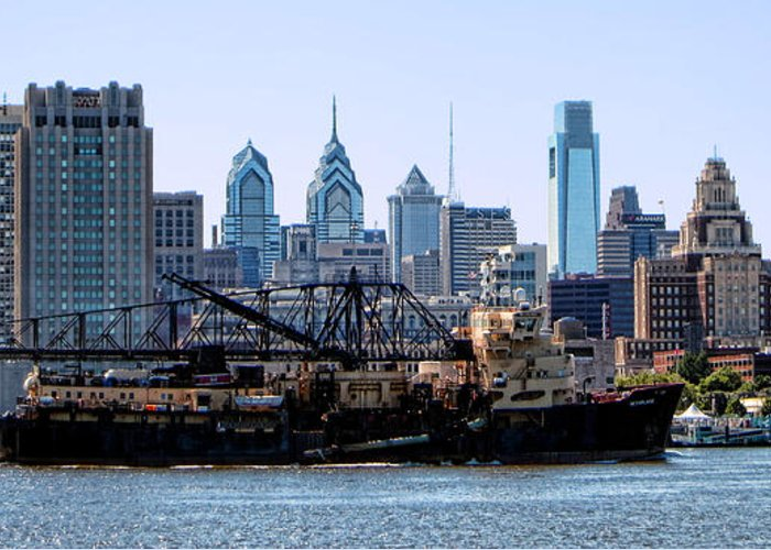 Trailing Greeting Card featuring the photograph Industrial Philadelphia by Olivier Le Queinec