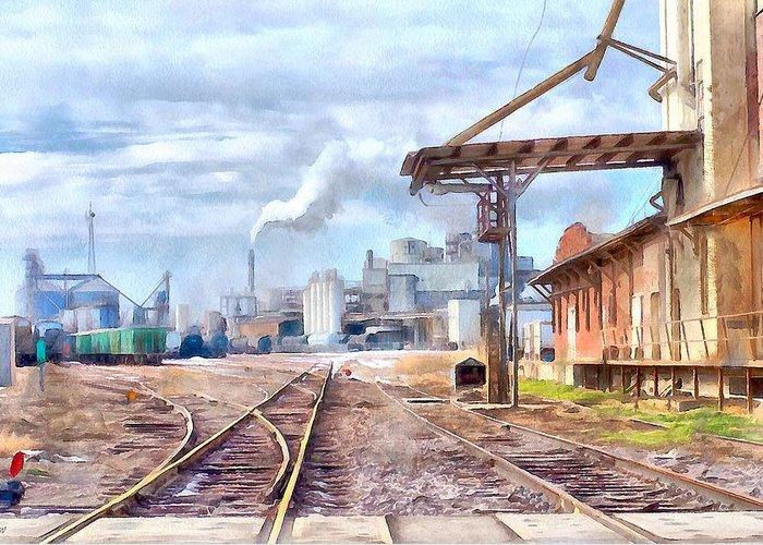 Industrial Railroad Scene Greeting Card featuring the painting Industrial Railroad Scene by L Wright