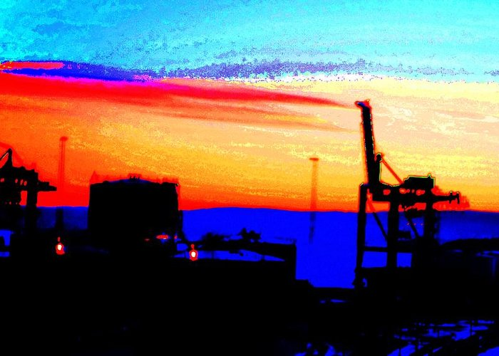 Sun Greeting Card featuring the photograph admire an Industrial sunset, because culture is also nature by Hilde Widerberg