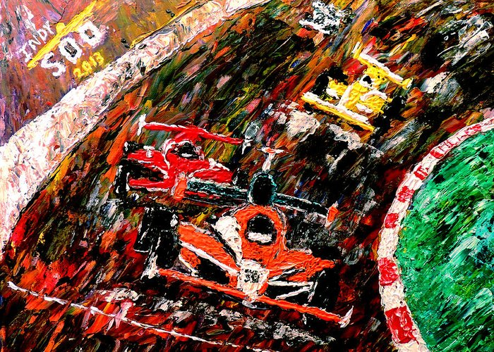 Indy 500 Greeting Card featuring the painting Indy 500 by Mark Moore