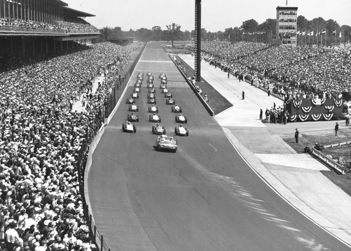1950's Greeting Card featuring the photograph Indy 500 Parade Lap by Underwood Archives