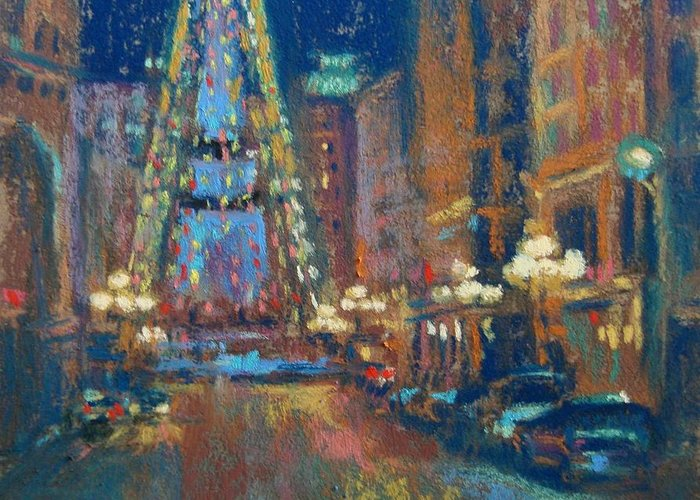 Indianapolis Greeting Card featuring the painting Indy Circle Christmas by Donna Shortt