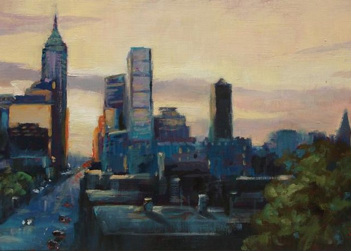Indianapolis Greeting Card featuring the painting Indy City Scape by Donna Shortt