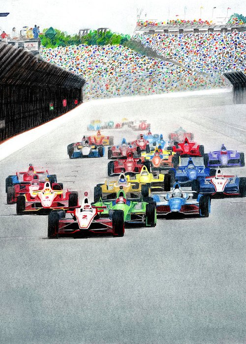 Indy Car Mixed Media Greeting Cards