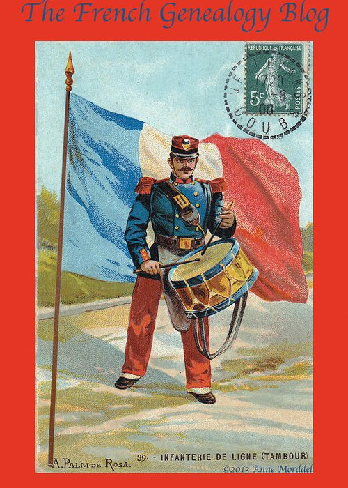 France Greeting Card featuring the photograph Infantry Of The Line Drummer With Fgb Border by A Morddel
