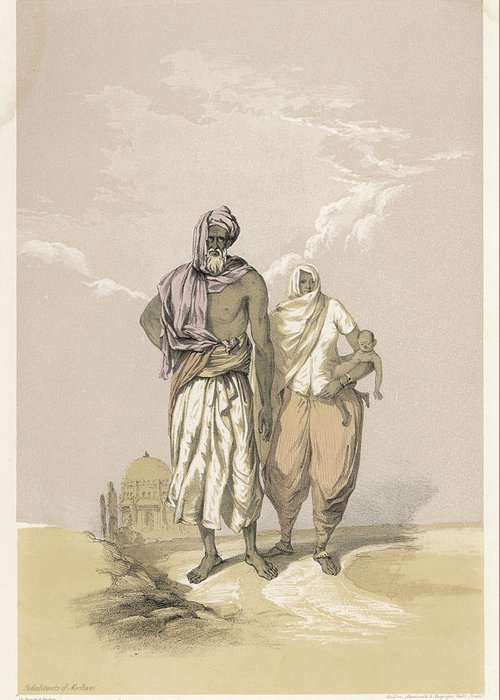 Racial Greeting Card featuring the drawing Inhabitants Of Mooltan (aka Multan) - by Mary Evans Picture Library