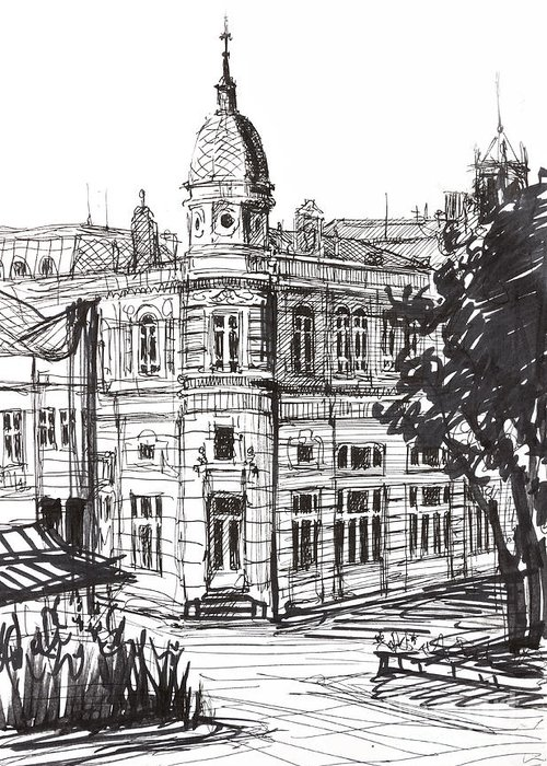 Pen Greeting Card featuring the drawing Ink Graphics Of An Old Building In Bulgaria by Kiril Stanchev