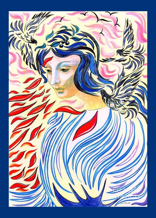 Spiritual Portrait Of Woman Greeting Cards