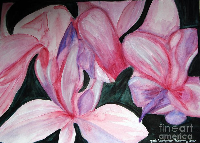 Flower Water Color Abstract Greeting Card featuring the painting Innocence by Yael VanGruber