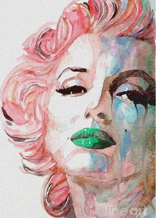 Marilyn Monroe Greeting Card featuring the painting Insecure Flawed But Beautiful by Paul Lovering